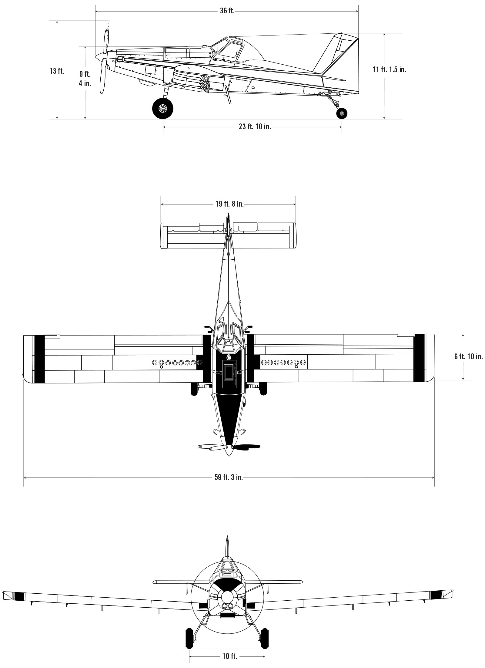 At 802a Air Tractor Tank Truck Manufacturer Schematic Dimensional Drawings